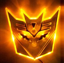 "4"" Amber Yellow LED TRANSFORMERS Decepticon 3D Logo Emblem Badge Car Light Glow"