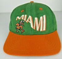 Vintage Miami Hurricanes Hat Cap Mascot Logo Ibis Snapback NCAA Sports
