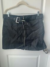 AMP Women's Black Belted Zip Front Skirt Size Junior's XL NWT