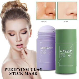 Green Tea Purifying Clay Stick Mask Oil-Control Anti-Acne Fine Solid Eggplant