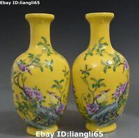 """9 """"Farbe Porzellan Pfingstrosen Blume Vogel Blume Vase Flasche Statue Paar"""