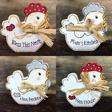 Cute Small Chicken Freestanding Kitchen Decor Wooden Hen Block Plaque Gift