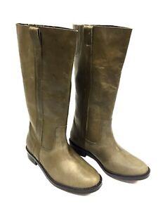 Woman Boots Leather Khaki Buffalo London Size 37 Fr / 6 US