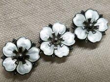 Norway Enamel Pansy or Dogwood Sterling 1940s Flower Pin Aksel Holmsen?
