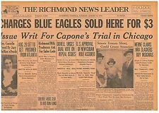 Original Newspaper Issue Writ Capone's Trial Chicago AUGUST 15 1933 3008218S B14