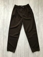 Womens Vintage Tapered Wool Trousers - SIZE 8 - Brown Smart Pleated Retro VTG