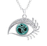 16mm Doctor Who Time Stamp Glass Noosa Snap Crystal Evil Eyes Shaped Necklace