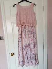 """Ladies pink multi floral sleeveless long dress 34"""" chest"""