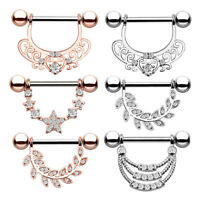 1 Piece Surgical Steel Zircon Nipple Ring Bar Barbell Body Piercing Jewelry