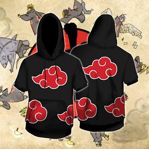Japanese Anime Akatsuki Short Sleeve Hoodie Cartoon Cosplay Costume Hooded Adult