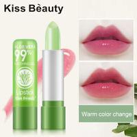 Aloe Vera Lipstick Lip Balm Color Mood Changing Long Lasting Moisturizing UK rtd