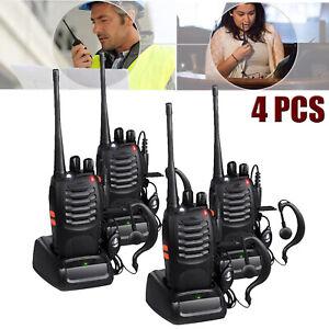 4 PCS Handheld Walkie Talkie Interphone Two-Way Radio BF-888S 2W UHF 400-470MHz