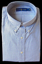 Men's RALPH LAUREN Blue Black White Plaid Dress Shirt 15 1/2 34/35 NWT NEW