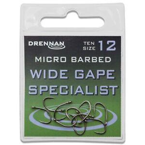 Drennan - Wide Gape Specialist, Eyed Specimen, Micro Barbed Hooks Coarse Fishing