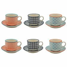 Patterned Stacking Tea / Coffee Cups and Saucer Set - Set of 6