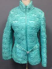 ESCADA SPORT Aqua Quilted Crinkle 2 Pocket Zip Belted Lined Jacket Sz 44 EE8283