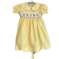 House Of Hatten Girls Easter Yellow Floral Smocked Dress Size 2T