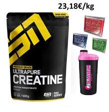 500g ESN - Ultrapure Creatin Monohydrate Creatine Pulver Kreatin + GRATIS Bonus