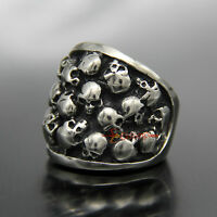Men's Silver Skulls 316L Stainless Steel Biker Ring Gothic Rocker Punk Band