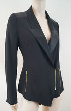 REISS 1971 Black Satin Sheen Lapels Gold Zip Fastened Tuxedo Blazer Jacket Sz:S