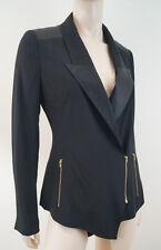 REISS 1971 Black Satin Sheen Lapels Gold Zip Fastened Tuxedo Blazer Jacket Sz:S