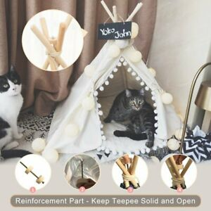 Pet Teepee House Foldable Dog Puppy Tent Kennel Cabin Cats Bed White Pom Pom AU