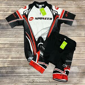 Sponeed Short Sleeve Zipper Top And Padded Cycling Shorts Set US Large NWT