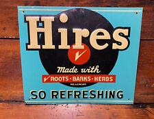 Vintage Original Hires Root Beer Soda Metal Advertising Sign So Refreshing 12x14