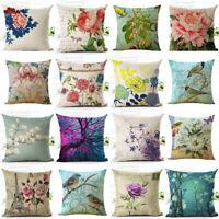 Flowers Bird Linen Waist Pillow Case Back Throw Cushion Cover Sofa Decorative