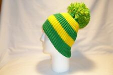 LUXURY GREEN AND YELLOW STRIPED BOBBLE HAT BEANIE FLEECE LINED MENS WOMENS KIDS