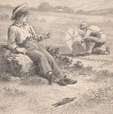 EARLY KITES KITE FLYING BOYS WITH THEIR KITES ANTIQUE PRINT 1887