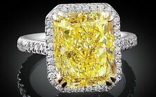 GLAMOROUS 3 CT FANCY CANARY YELLOW DIAMOND RING PRINCESS CUT HALO ENGAGEMENT 925