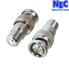 2 X BNC Male Plug to F Female Socket Connector/Adaptor Cabledup®