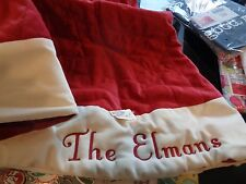 "Pottery Barn Christmas Velvet red monogrammed ""The Elmans "" Tree skirt New"