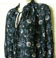 Women's Loft Blue Floral Top Size Large Ruffle Trim Tie Neck Keyhole Pheasant