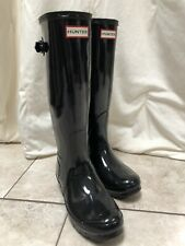 Women's Black Patent Hunter Rain Boots Size 7