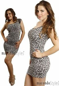 Cutout ONE SIZE Shoulder Cut out Fitted Bandage Style Animal Print Mini Dress