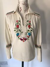 1970s Embroidered Folk Hungarian Long Sleve Top