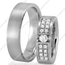 Solid 14K White Gold His & Her Diamond Wedding Ring Set 6mm Wide Matching Bands