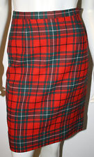 PENDLETON Vintage Wool Skirt XS S 0 2 4 Red Forest Green White Plaid