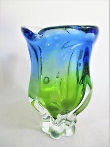 Beautiful Czech 'Chribska' Blue & Green Art Glass Vase