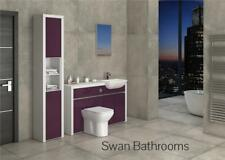 WHITE / AUBERGINE GLOSS BATHROOM FITTED FURNITURE WITH TALL UNIT 1800MM