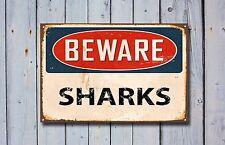Beware Sharks, Metal Sign, Beware Sign, Beware Signage, Beware Signs, Beware 375