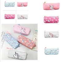 Zip Box Stationery Canvas Pen Bag Unicorn Pencil Case Makeup Pouch Coin Purse