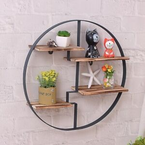 Simple Modern Creative Round iron storage Rack solid wood wall partition rack