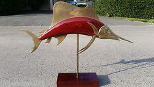 FREDERICK COOPER ? MID CENTURY BRASS WOOD FISH SCULPTURE SAILFISH LARGE REGENCY