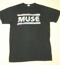 Muse Concert Tour T-Shirt Multicolor Logo in Horizontal Bars on Black size L