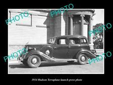 OLD LARGE HISTORIC PHOTO OF 1934 HUDSON TERRAPLANE LAUNCH PRESS PHOTO