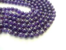 8mm Round Natural Amethyst Semi Precious Gemstone Beads - Half Strand(24-25pcs)