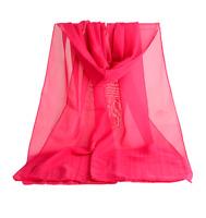 Foulard Femme Polyester Uni Rose Vif - Bijoux des Lys